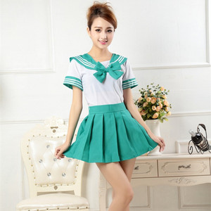 7 colors Japanese school uniforms anime COS sailor suit tops+tie+skirt JK Navy style Students clothes for Girl short sleeve(China)