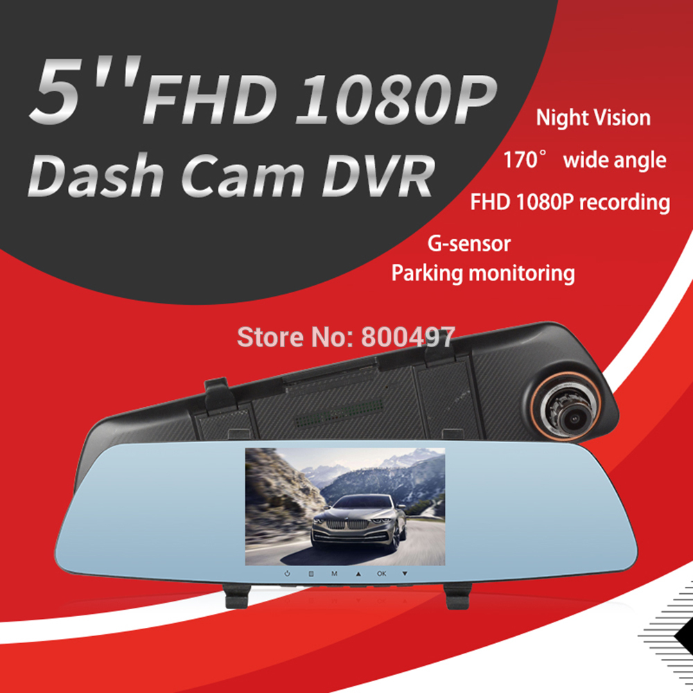 5.0/'/' Dual Lens Car DVR Dash Cam Rear View Video Camera Recorder Parking Mirror