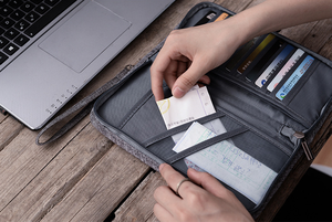 Image 5 - Saco do organizador do documento do bilhete da carteira do curso, suporte do passaporte da família