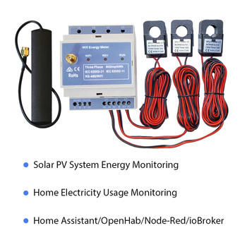 Medidor de potencia bidireccional trifásico WiFi, 150A, carril Din, asistente doméstico, monitor solar pv, CE,RCM, Monitor de uso de electricidad 1