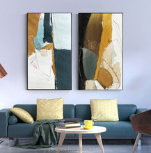 Abstract Yellow Green Canvas Modern Blue Oil Painting Fashion Tableaux Wall Art for Living Room Big Size Entrance Oil Picture(China)