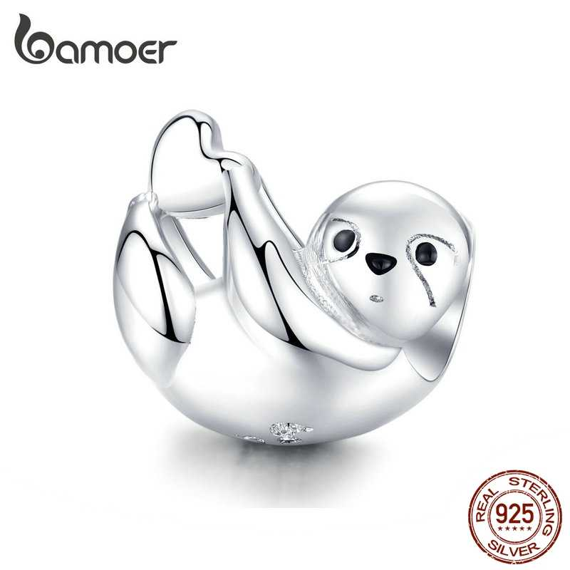bamoer Zoo Animal Beads for Women Jewelry Original Silver Snake Bracelet Lazy Sloth Funny Silver 925 Jewelry Accessories BSC109