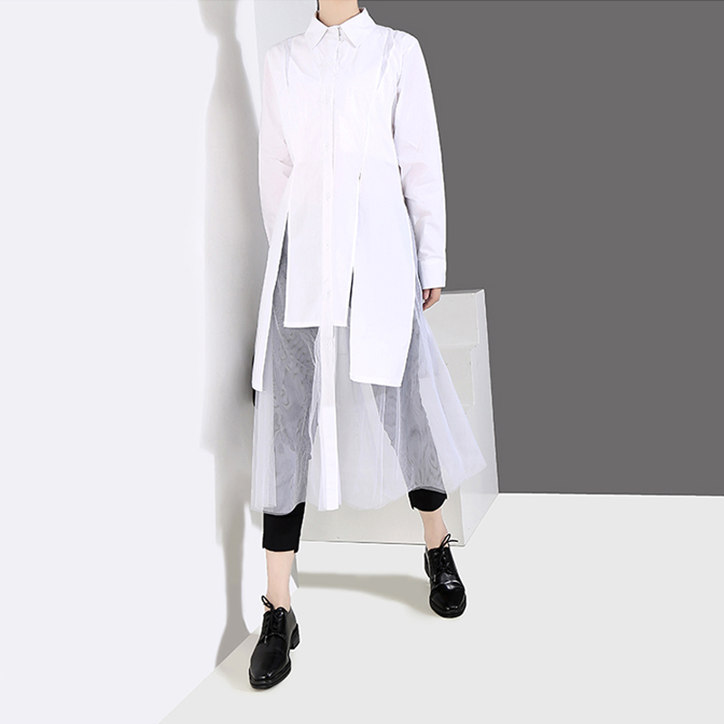 Image 3 - New 2019 Women Solid Black White Shirt Dress Long Sleeve Long 