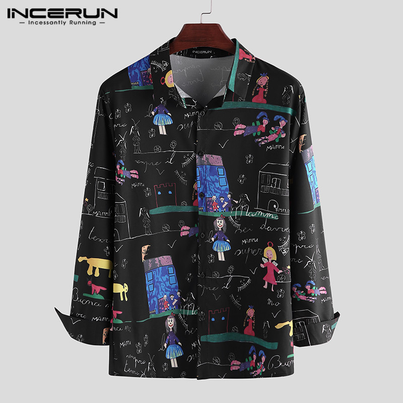 INCERUN Fashion Men Casual Printed Shirt Lapel Long Sleeve 2020 Hawaiian Streetwear Korean Brand Shirts Men Party Blouse S-3XL