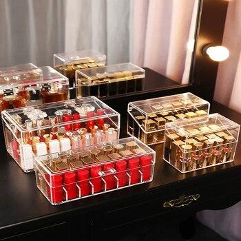 Caja de lápiz labial con soporte de brillo de labio acrílico, soporte de exhibición, caja de almacenamiento de brocha para polvos cosméticos, caja de almacenamiento para perfumes y cosméticos