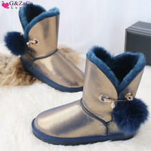 G&Zaco Luxury Winter Sheepskin Snow Boots Suede Genuine Leather Sheep Fur Middle Calf Fox Fur Ball Sweet Pearl Women's Boots