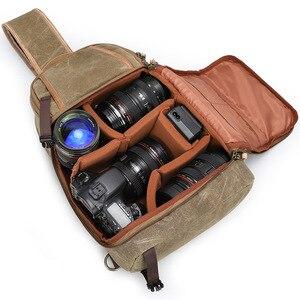 Image 2 - Płótno temblak skórzany Messenger torba na aparat profesjonalna torba do przechowywania DSLR wytrzymały wodoodporny i odporny na rozdarcia plecak