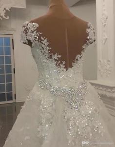 Image 3 - Robe de mariée moderne en dentelle, robes de mariée sirène en dentelle et perles, cristaux brillants, avec application, col montant, robes de mariée de Mariage