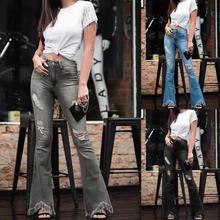 Ripped Jeans Women High Waist Slim-fit Flared Pants Zipper Do Old Plus Size Mom Jeans 2021 New Fashion Lugentolo