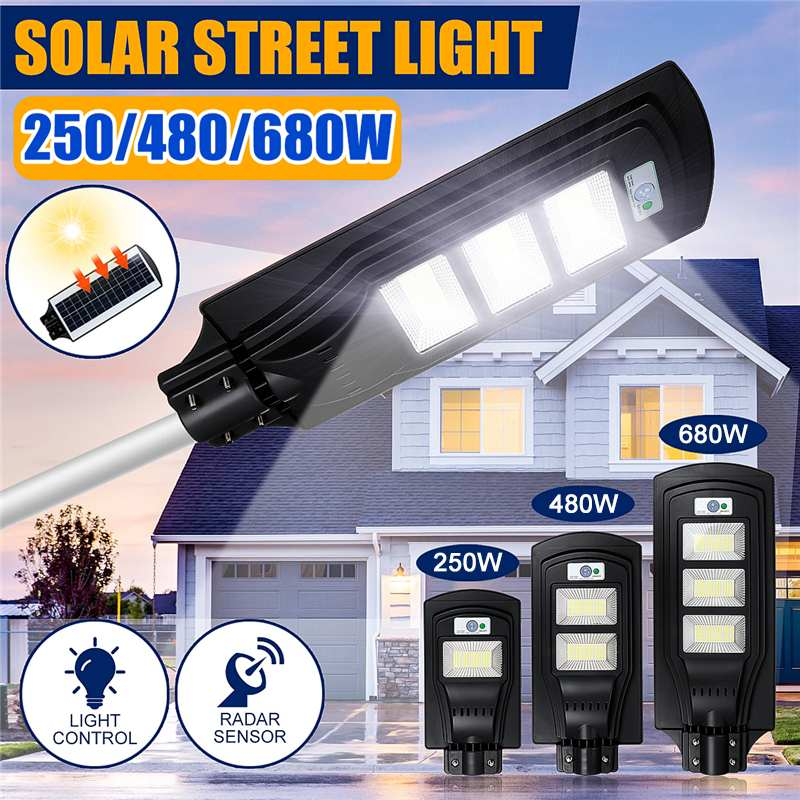 250W 480W 680W Solar Street Light Outdoor Lighting Garden Yard Wall Highway Parking Lot Security Lamp IP67 Waterproof