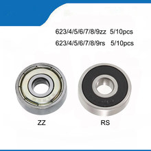 5/10PCS Ball Bearing 623rs zz 624rs 625zz RS 635ZZ 626zz RS ZZ Miniature Mini Small Deep Groove Flanged Pulley Wheel imprimante