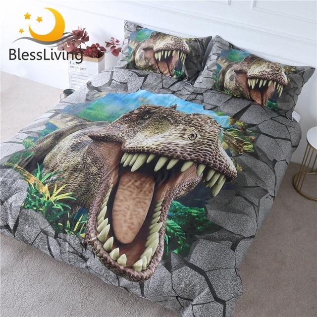 BlessLiving Dinosaur Bedding Set 3D Scary Animal Bedspreads for Teen Boys Cracked Bricks Bed Set Tyrannosaurus Teeth Duvet Cover