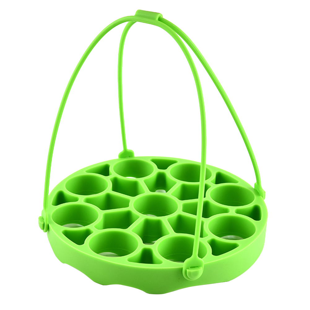 Kitchen Soft Mat Steamer Rack Pressure Cooker Heat Resistant Round Multifunctional Silicone Non Toxic With Sling Tray Home