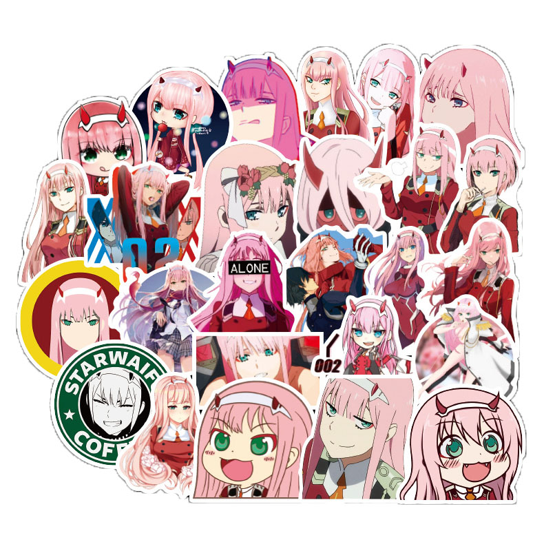 50Pcs/set Anime DARLING In The FRANXX Stickers For Motorcycle Luggage Laptop Refrigerator Skateboard Bicycle Guitar Toys Sticker