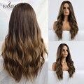 EASIHAIR Lange Braun Ombre Perücken Synthetische Perücken für Schwarze Frauen Natürliche Haar Wellig Perücken Wärme Beständig Täglichen Perücke für Brasilianische afro