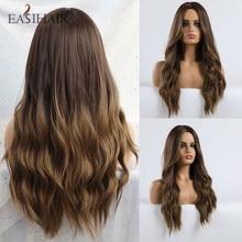 Perruque synthétique longue brune ombrée pour femmes noires, cheveux naturels ondulés, résistant à la chaleur, style Afro brésilien