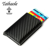 Anti-theft Men Credit Card Holder Carbon Fiber Leather Unisex Wallet Rfid Card Holder For Women Aluminum Purse Men Bank Travel