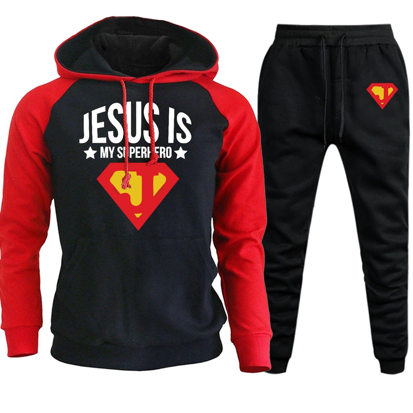 Jesus Is Superhero Hoodies Mens Raglan Sweatshirts Autumn Winter Casual Hooded Suit Male Fleece Pullover+Sweatpants 2 Piece Set