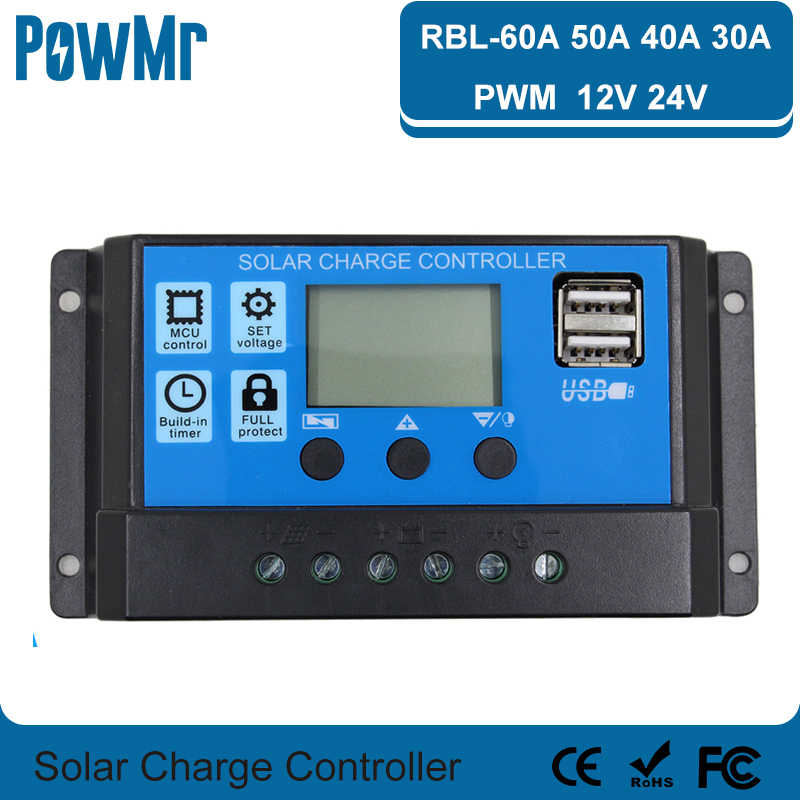 LCD Display 60A 50A 40A Dual USB 12V//24V Solar Panel Battery Charge Controller