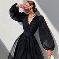 Женское платье миди в горошек с v-образным вырезом и естественной талией, милые элегантные платья с длинными рукавами-фонариками на новый го...
