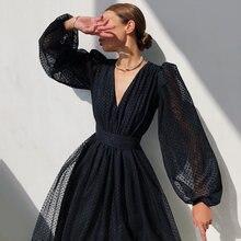 Polka dot v-neck cintura natural vestido midi feminino doce manga longa puff vestidos elegantes para o ano novo 2021 natal festa pano