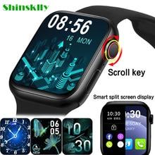2021 HW22pro חכם שעון גברים נשים פיצול מסך תצוגה מקורי Smartwatch גוף טמפרטורת צג BT שיחה עבור אנדרואיד IOS IWO