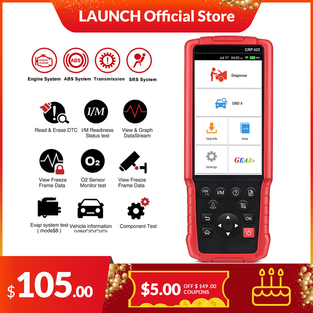 LAUNCH X431 CRP423 Obd2 Code Reader Scanner EOBD Engine ABS SRS Airbag Transmission Car Diagnostic Tool Multilingual Pk CRP123E