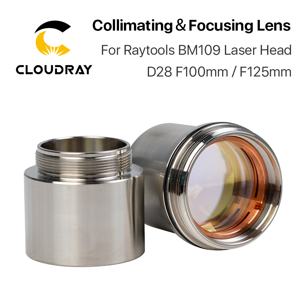 Cloudray BM109 1.5KW Collimating & Focusing Lens D28 F100 F125mm With Lens Holder For Raytools Laser Cutting Head BM109