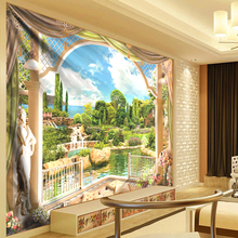 Modern Home 3D Waterfall Tapestry Beach Wall Hanging Roman Arc de Triomphe Castle Mountain Water Landscape Cloth