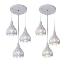 Modern white iron chandelier led lamps LED Crystal Chandeliers living room dining room lamps led lustre hanging lighting pendant cheap ZMJUJA CN(Origin) None 110V 220V 240V 90-260V B041 Metal led pendant light Semiflush Mount LED Bulbs Down Europe