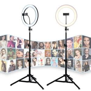 Image 1 - 26cm LED Selfie halka ışık 24W 5500K stüdyo fotoğraf fotoğraf doldurun halka işık iphone için Tripod ile akıllı telefon klip makyaj