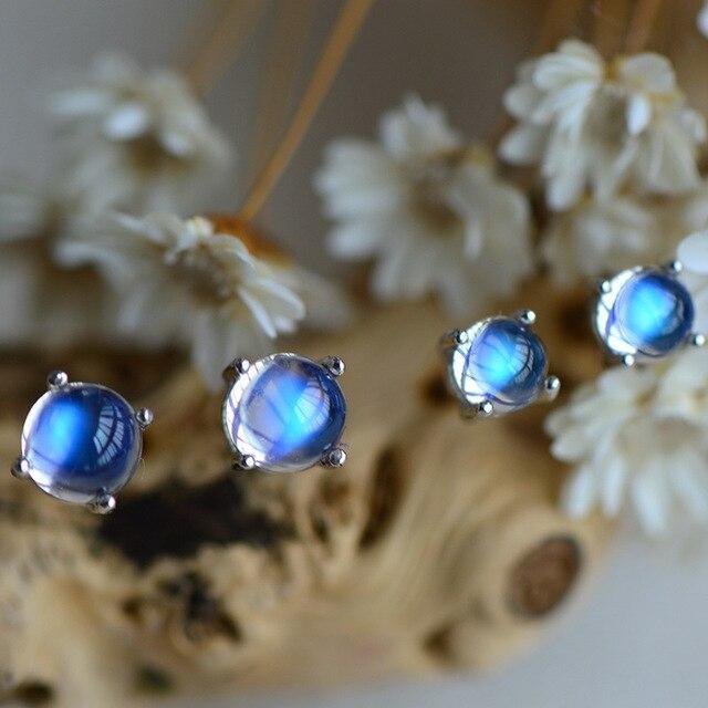 Designer  natural Moonstone earnail blue-light  simple temperament eardrop couple jewelry