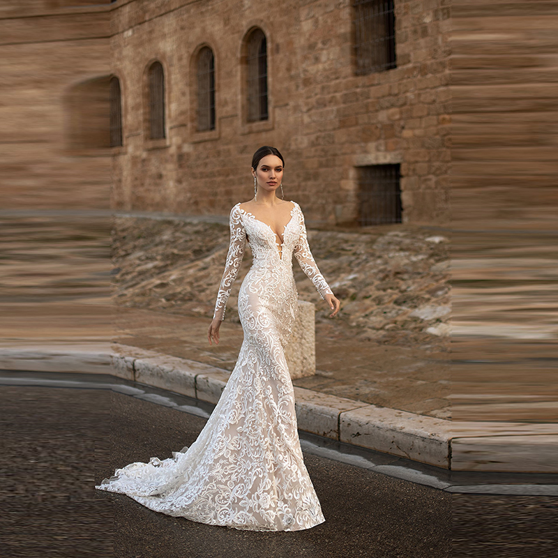 Wholesale Elegant Mermaid Lace Long Sleeve Bride Wedding Dresses with Detachable Train Bridal Gowns Backless Illusion Neckline