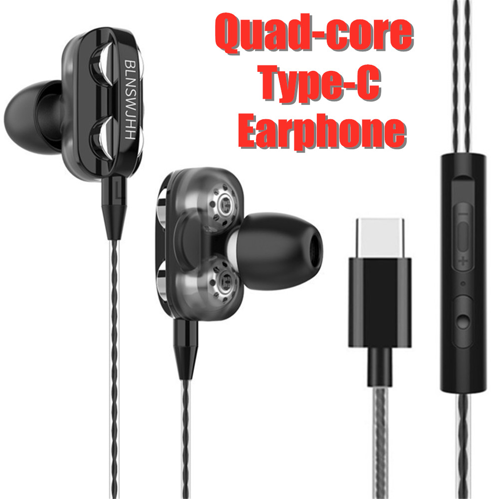 Quad-Core Wired Earphone Type-C Music Sport Earbuds for Samsung Xiaomi Mi 8 Huawei P20 P30 P40 LeEco USB Type C Headset with Mic(China)
