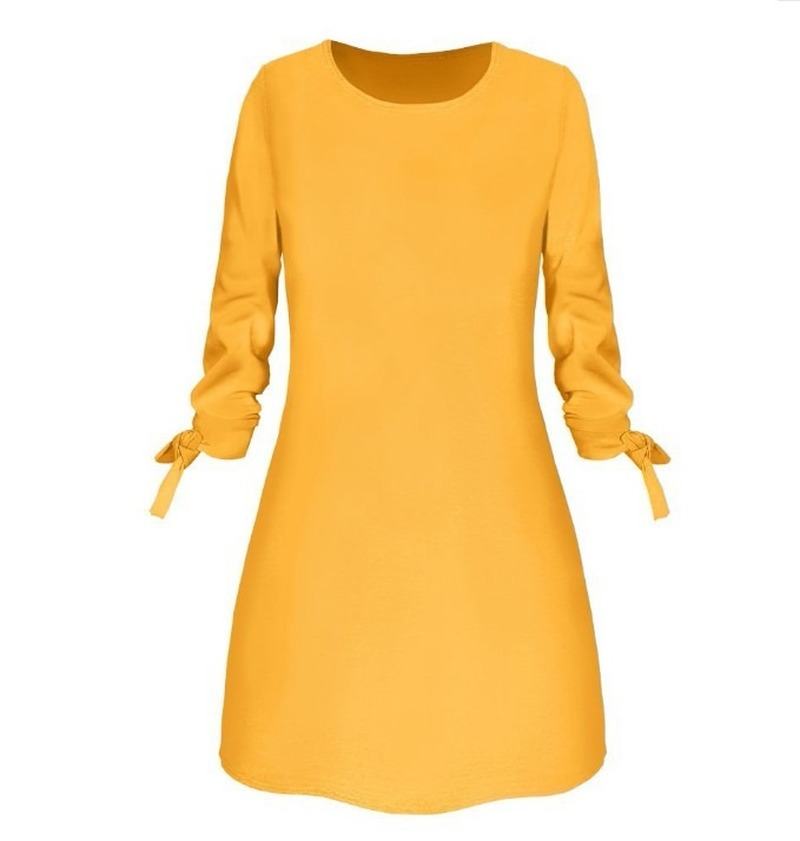 Women Fashion O-neck Solid Bow Elegant Straight Dress Spring Loose Mini Dresses 3/4 Sleeve Bow comfortable Plus Size 1