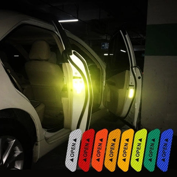 4Pcs/set Car Door Stickers Universal Safety Warning Mark OPEN High Reflective Tape Motorcycle Bike Helmet Sticker image