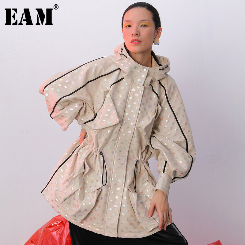 [EAM] Women Dot Drawstring Spliced Trench New Lapel Long Sleeve Loose Fit Windbreaker Fashion Tide Spring Autumn 2020 1B746