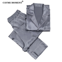 CAVME 100% Real Silk Pajama Sets for Men Gray Homme's Sleepwear 2 Pieces Full Sleeve Pants PLUS SIZE Luxury Father Nightwear