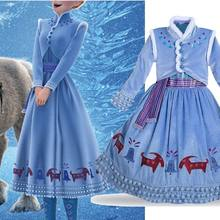 Girls Dress Elsa 2 Party Dress Dresses Girl Clothes Anna Snow Queen Print Birthday Princess Dress Elza Kids Cosplay Costume(China)