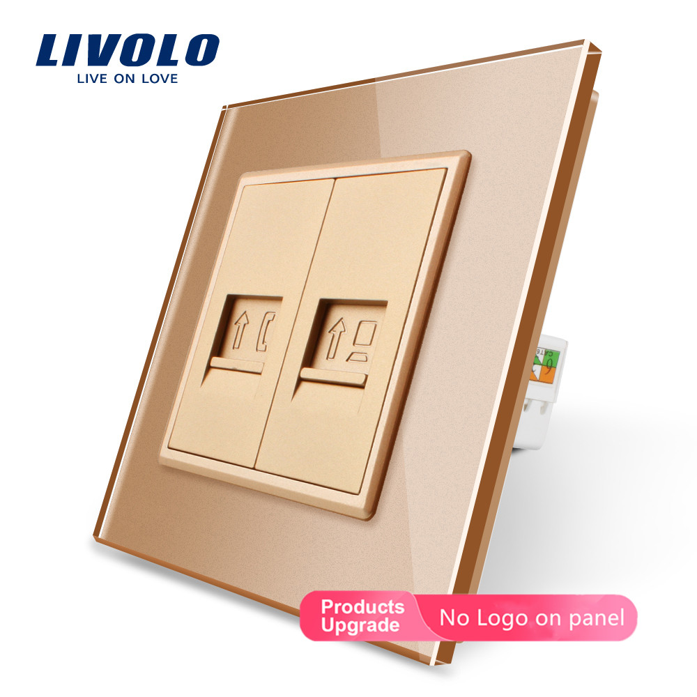 Livolo Manufacture Crystal Gold Glass Panel, Computer Socket,Tel Plugs,Satv,audio,TV Wall Outlet Plug Socket No Logo,DIY