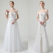 비치 웨딩 드레스 캡 슬리브 브라 가운 아가씨 넥 라인 레이스 Vestido De Novia Illusion Mermaid Robe de Mariage
