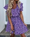 Женское мини-платье с цветочными оборками, фиолетовое летнее платье-трапеция с квадратным вырезом, праздничное платье в стиле бохо с высоко...