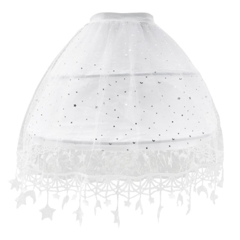 Women Lolita White Tulle Petticoat Skirt Sweet Moon Star Fringe Tassel Hem Adjustable 2 Hoops Underskirt Prom Crinoline