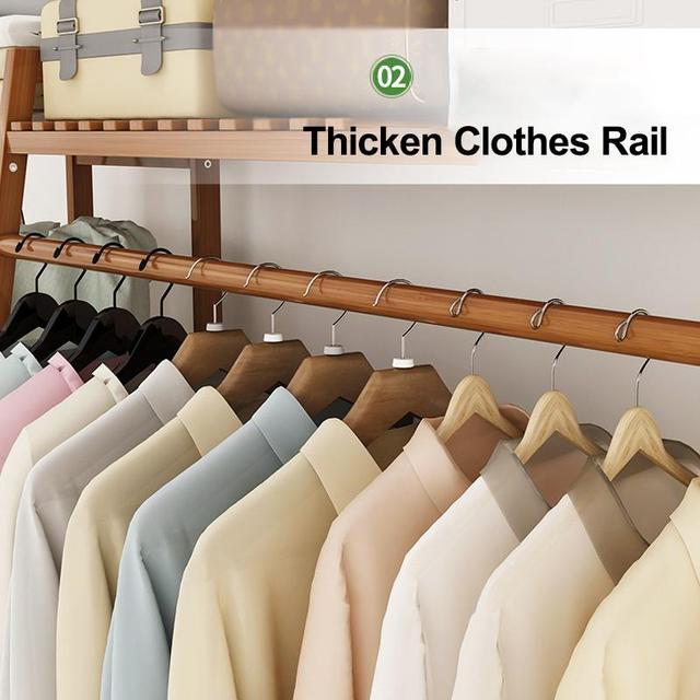 Bamboo Clothes Coat Rack w/ Storage  3