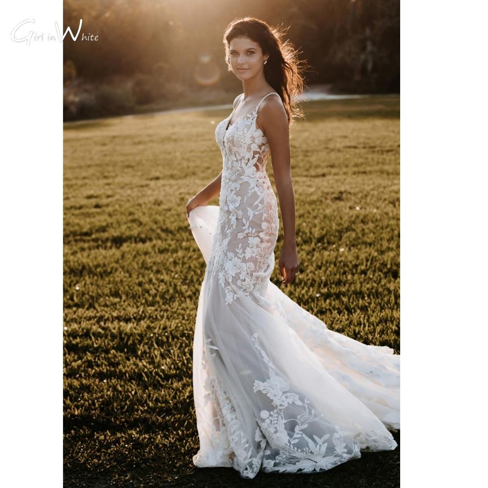 Vestido De Novia Romantic Lace Appliques Mermaid Wedding Dresses ...