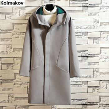 2019 Winter new Men's Long  wool coat hooded casual woolen overcoat high quality pure colour zipper  trenchcoat for men