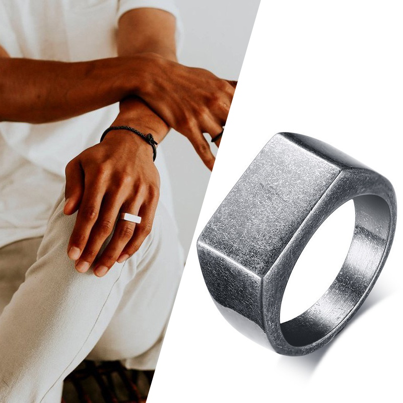 Oxidized silver color Flat Top Men's Signet Ring Square Band Stainless Steel Vintage Rustic Man Jewelry(China)