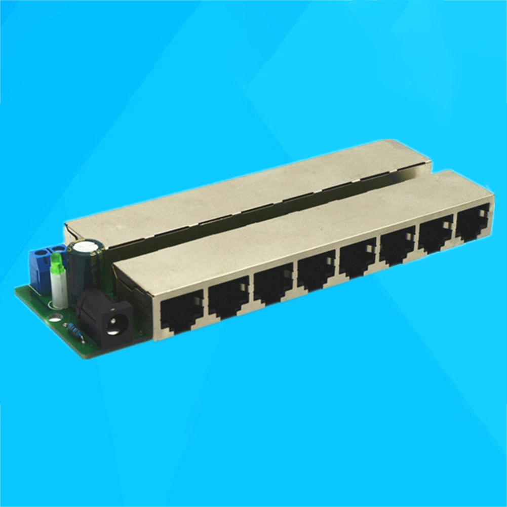 Monitoring Centralized 12-48V Weak Electric Network Ethernet Injector Splitter 8 Ports POE CCTV Power Supply Box Module Camera
