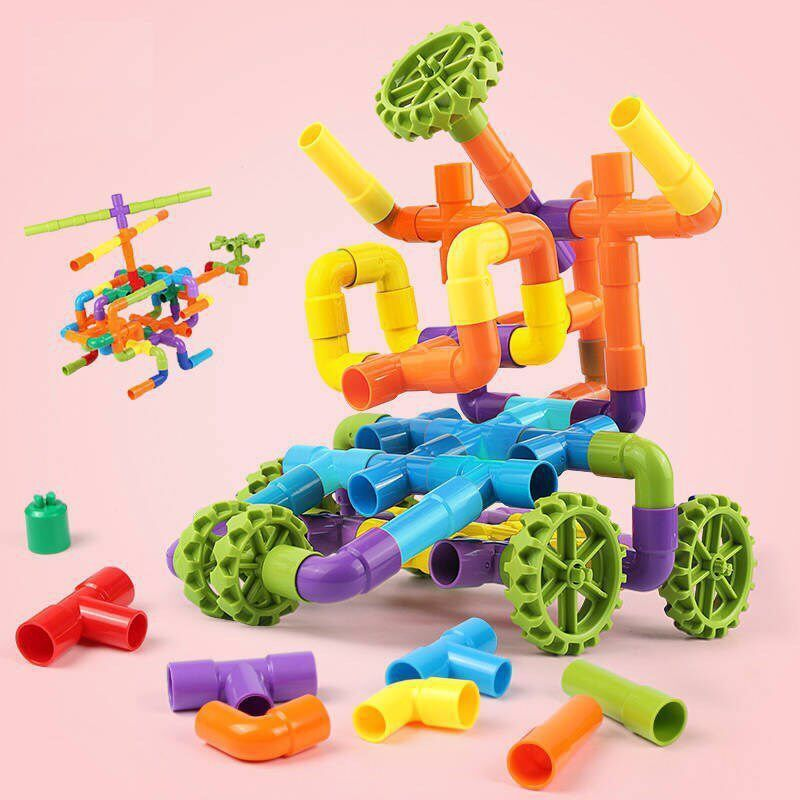 26/48/76/96/144/238 Pcs DIY Tubular Building Blocks Kids Educational Put together building blocks Toys Children Christmas Gifs