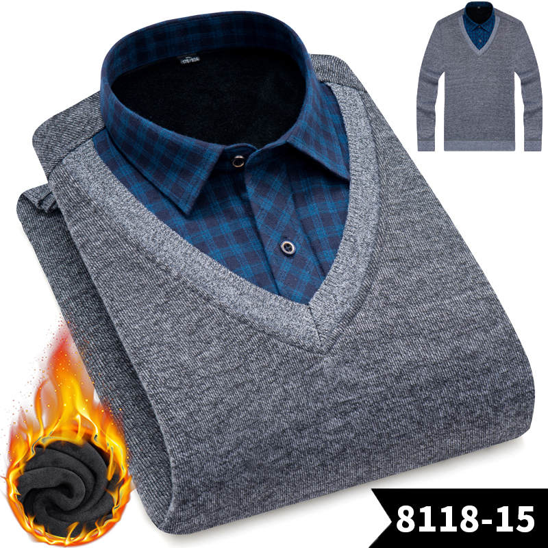 Image 5 - New Fashion Men Shirts Fake two pieces pieces Thicken Winter Cool Men's Shirt Plus velvet Casual Plaid Warm Man Shirt YN10520-in Casual Shirts from Men's Clothing